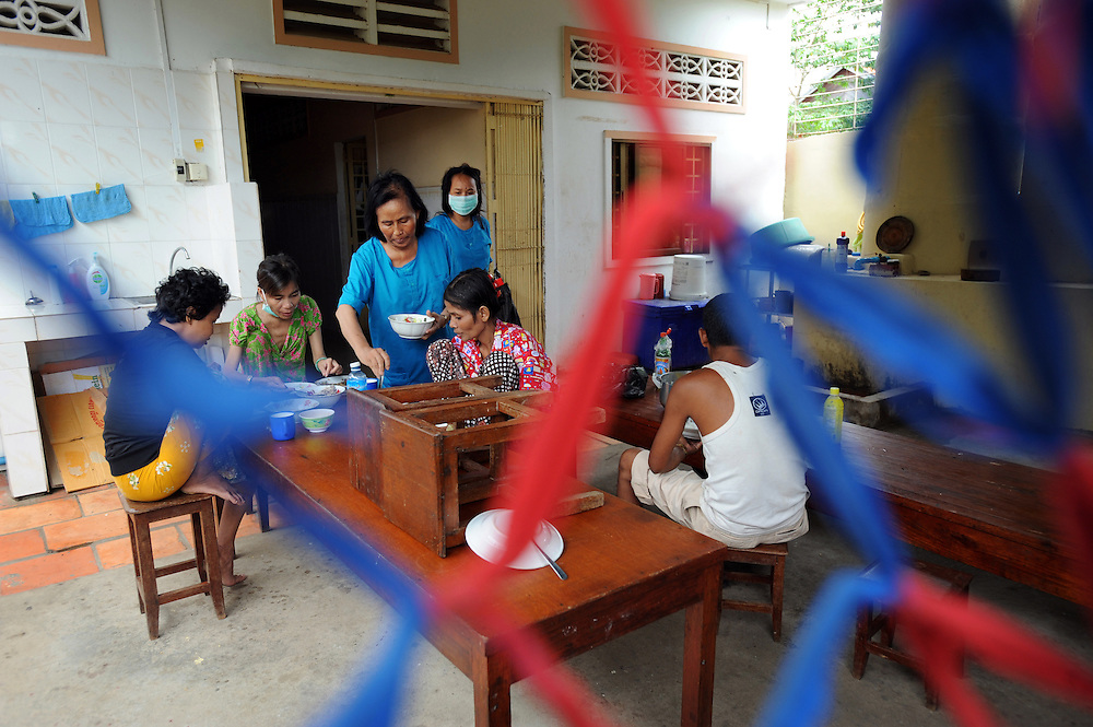HIV positive adults have lunch in a hospice for people admitted with HIV/AIDS related illness in Phnom Penh, Cambodia. The hospice is run by Maryknoll and is supported by Trocaire.