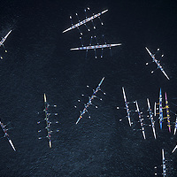 USA, Washington, Seattle, Aerial view of rowing sculls gathered in Lake Union after Windermere Cup Races in Montlake Cut