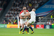 Twickenham, Great Britain, Brad BARRITT, gripped by Scott WILLIAMS, Mike BROWN, taking the ball    during the Pool A Game, England vs Wales.  2015 Rugby World Cup, Venue, The RFU Stadium, Twickenham, Surrey, ENGLAND. Saturday   26/09/2015  [Mandatory Credit; Peter Spurrier/Intersport-images]