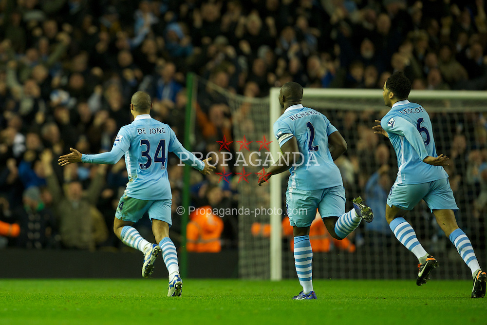 LIVERPOOL, ENGLAND - Wednesday, January 25, 2012: Manchester City's Nigel de Jong celebrates scoring the first goal against Liverpool during the Football League Cup Semi-Final 2nd Leg at Anfield. (Pic by David Rawcliffe/Propaganda)