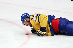 11.05.2012, Ericsson Globe, Stockholm, SWE, IIHF, Eishockey WM, Russland (RUS) vs Schweden (SWE), im Bild a high stick from Russia 7 Dmitri Kalinin (SKA St Petersburg) hit Sverige Sweden 93 Johan Franzen in the face and blood poured on the iceBlood skada, skadan , ont , smärta , pain , injury , injuries // during the IIHF Icehockey World Championship Game between Russia (RUS) and Sweden (SWE) at the Ericsson Globe, Stockholm, Sweden on 2012/05/11. EXPA Pictures © 2012, PhotoCredit: EXPA/ PicAgency Skycam/ Morten Christensen..***** ATTENTION - OUT OF SWE *****