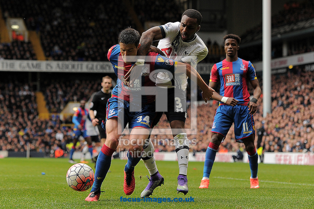 Danny Rose of Tottenham Hotspur does battle with Martin Kelly of Crystal Palace during the FA Cup match between Tottenham Hotspur and Crystal Palace at White Hart Lane, London<br /> Picture by Richard Blaxall/Focus Images Ltd +44 7853 364624<br /> 21/02/2016