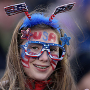 A young fan during the USA Vs Colombia, Women's International friendly football match at the Pratt & Whitney Stadium, East Hartford, Connecticut, USA. 6th April 2016. Photo Tim Clayton