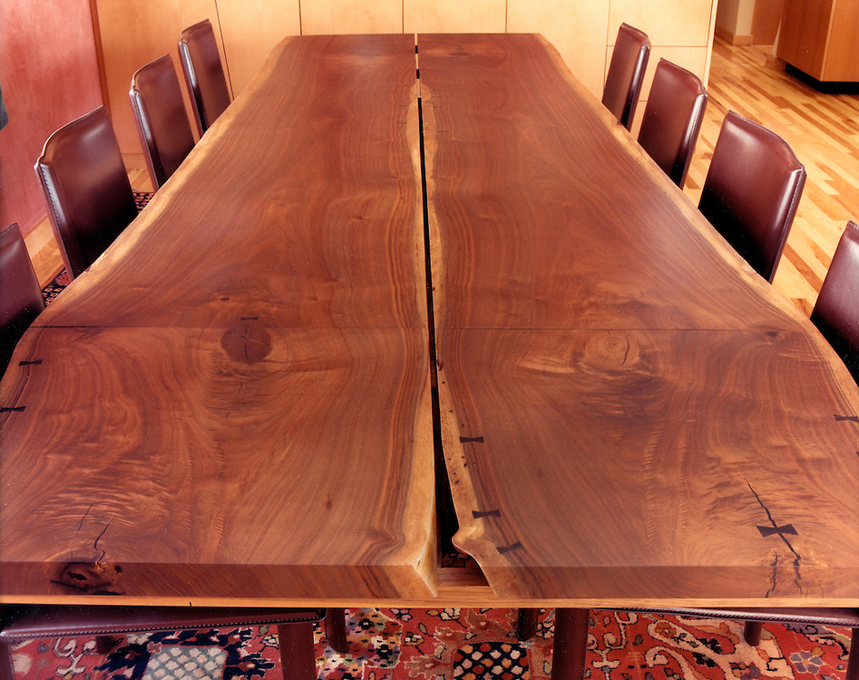 live edge Walnut dining table with leaf extension