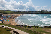 The scene at Fistral Beach, Newquay, Cornwall, scene of the Boardmasters WSL Pro surfing championship finals on 11 August 2019.
