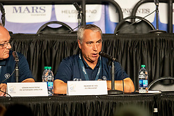 VOS Ingmar de (FEI Präsident)<br /> Tryon - FEI World Equestrian Games™ 2018<br /> Pressekonferenz zum Abbruch des Endurance<br /> 14. September 2018<br /> © www.sportfotos-lafrentz.de/Stefan Lafrentz