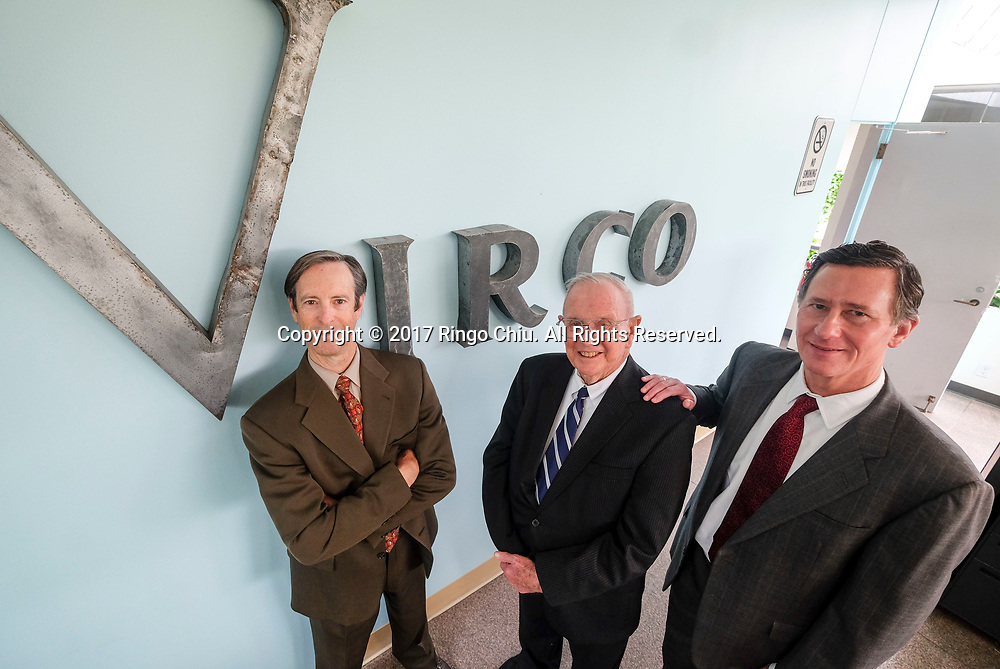 Doug Virtue, left, president, Bob Dose, right, senior VP and Robert Virtue, the founder of Virco.(Photo by Ringo Chiu)<br /> <br /> Usage Notes: This content is intended for editorial use only. For other uses, additional clearances may be required.
