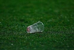 05-04-2007 VOETBAL: AZ - WERDER BREMEN: ALKMAAR<br /> Het eerste kwartfinaleduel voor de UEFA Cup tussen AZ en het Werder Bremen eindigde in 0-0. / Een plastic beker op de grasmat , item voetbal creative<br /> ©2007-WWW.FOTOHOOGENDOORN.NL