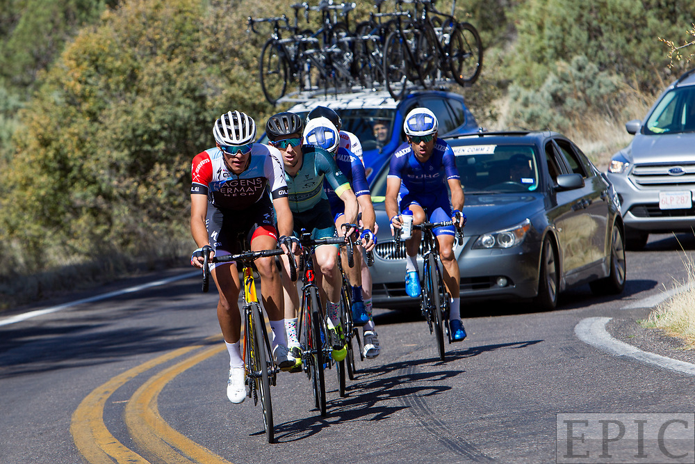 SILVERY CITY, NM - APRIL 19: Christopher Blevins (Hagens Berman Axeon) leads the break during stage 2 of the Tour of The Gila on April 19, 2018 in Silver City, New Mexico. (Photo by Jonathan Devich/Epicimages.us)