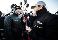 The Vendee Globe 2016 - 2017<br /> British yachtsman Alex Thomson skipper of the &lsquo;Hugo Boss&rdquo;  IMOCA Open60. He finished 2nd in the Vendee Globe solo non stop around the world yacht race. Shown here in the Sables d Olonne port celebrating with the winner of the race Armel Le Cl&eacute;ac&rsquo;h . He completed the solo non stop around the world race in 74days. 19hours and 35 minutes<br /> <br /> Photo by Lloyd Images