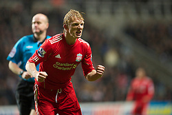 NEWCASTLE, ENGLAND - Saturday, December 11, 2010: Liverpool's Dirk Kuyt celebrates scoring an equalising goal against Newcastle United during the Premiership match at St James' Park. (Photo by: David Rawcliffe/Propaganda)