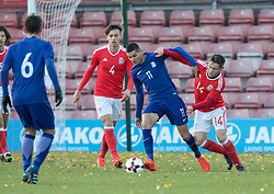 WREXHAM, WALES - Thursday, November 10, 2016: Wales' Kieran Evans in action against  Marious Vrousai of Greece  during the UEFA European Under-19 Championship Qualifying Round Group 6 match at the Racecourse Ground. (Pic by Gavin Trafford/Propaganda)