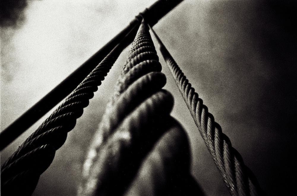 Cables on Golden Gate Bridge in San Francisco, CA.  Photo taken with Nikonos V, October 2004. Copyright 2004 Reid McNally.