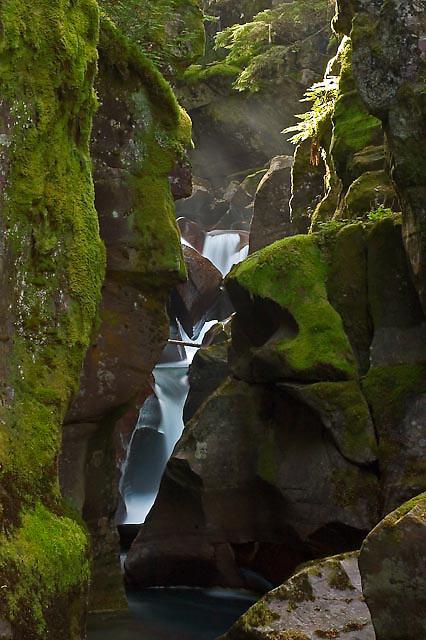 avelanch falls, glacier national park, montana, usa