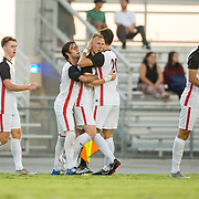 09 September 2018: San Diego State defensemen Miles Stray (13) is congratulated by teammates after scoring the equalizing goal in the eighty-fifth minute. The San Diego State men's soccer team beat UC Irvine in overtime 2-1 Sunday afternoon at the SDSU Sports Deck.