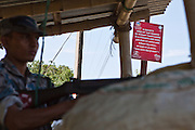 An MSS anti trafficking sign next to the Nepal boarder check point at Belahiya.  MSS, Manav Seva Sansthan run an anti trafficking project in this area.