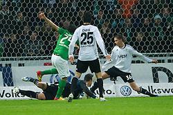10.12.2011, Weser Stadion, Bremen, GER, 1.FBL, Werder Bremen vs VFL Wolfsburg, im BildClaudio Pizarro (Bremen #24) zum 2 zu 0 gegen Diego Benaglio (Wolfsburg #1) . // during the Match GER, 1.FBL, Werder Bremen vs VFL Wolfsburg, Weser Stadion, Bremen, Germany, on 2011/12/10.EXPA Pictures © 2011, PhotoCredit: EXPA/ nph/ Kokenge..***** ATTENTION - OUT OF GER, CRO *****