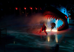 April 29, 2010; San Jose, CA, USA; San Jose Sharks players enter through the Sharks head during player introductions before game one of the western conference semifinals of the 2010 Stanley Cup Playoffs at HP Pavilion. Mandatory Credit: Jason O. Watson / US PRESSWIRE