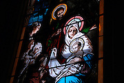 Stained glass image of the Nativity. (Photo by Sam Lucero)
