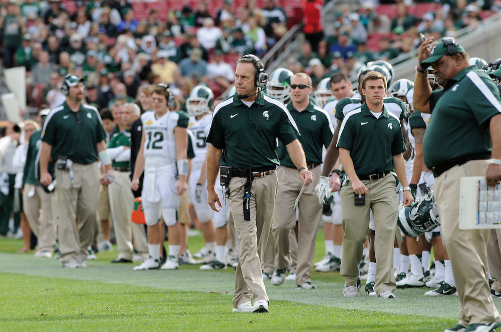 January 2, 2012: Head coach Mark Dantonio of Michigan State in action during the NCAA football game between the Michigan State Spartans and the Georgia Bulldogs at the 2012 Outback Bowl at Raymond James Stadium in Tampa, Florida. The Spartans defeated the Bulldogs 33-30.