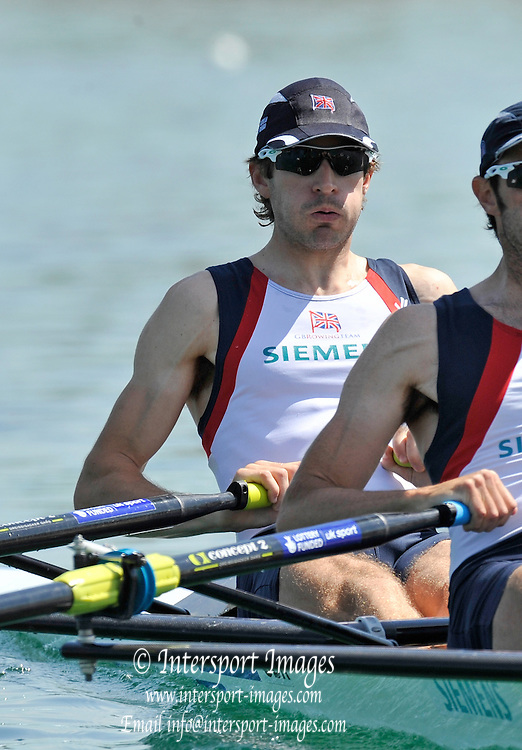 Munich, GERMANY,  Friday morning heats, GBR LM2X. Bow Zac PURCHASE and Mark HUNTER. 2012 FISA World Cup III on the Munich Olympic Rowing Course,  Friday   15/06/2012. [Mandatory Credit Peter Spurrier/ Intersport Images]
