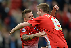 Leyton Orient's Dean Cox and Leyton Orient's Nathan Clarke  celebrate Orient's victory - Photo mandatory by-line: Mitchell Gunn/JMP - Tel: Mobile: 07966 386802 12/10/2013 - SPORT - FOOTBALL - Brisbane Road - Leyton - Leyton Orient V MK Dons - League One