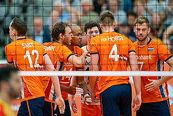 09-06-2019 NED: Golden League Netherlands - Spain, Koog aan de Zaan<br /> Fourth match poule B - The Dutch beat Spain again in five sets in the European Golden League / Wessel Keemink #2 of Netherlands, Nimir Abdelaziz #14 of Netherlands, Gijs Jorna #7 of Netherlands