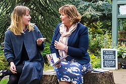 Pictured:  Shona Cowie and Fiona Hyslop discover they used to live in the same street so had tales to tell<br /> <br /> Fiona Hyslop MSP. Cabinet Secretary for Culture, Tourism &amp; External Affairs today previewed the 2018 festival, which looks at the future of storytelling in Scotland, nurturing local roots, reaching out globally and celebrating Celtic traditions shared by Scotland and Ireland. During her preview Ms Hyslop met festival director Donald Smith, David Mitchell of Scotland's Garden Scheme, and storytellers Miriam Morris and Daniel Allison.