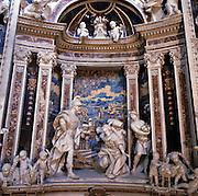 Palermo, &quot;Del Gesu'&quot; church, baroque art,statues by Gioacchino Vitaliano, marble mosaic in the background.<br /> Palermo, chiesa del Gesu', arte barocca, gruppi statuari opera di Gioacchino Viataliano, sullo sfondo marmi policromi intarsiati.