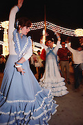 Flamenco dancing at the April Fair, Seville, Spain.