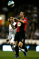 Photo: Tom Dulat.<br /> <br /> Tottenham Hotspur v Blackburn Rovers. The FA Barclays Premiership. 28/10/2007.<br /> <br /> Stephen Warnock of Blackburn Rovers and Aaron Lennon of Tottenham Hotspur with the ball.