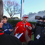 Smyrna eagles head coach Mike Judy talks to the media  after Smyrna defended Salesianum 32-26 in overtime Saturday, Dec. 05, 2015 at Delaware Stadium in Newark.