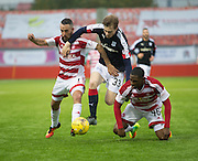 Dundee&rsquo;s Craig Wighton outnumbered by Hamilton&rsquo;s Dougie Imrie and Lennard Sowah - Hamilton v Dundee in the Ladbrokes Scottish Premiership at Superseal stadium, Hamilton. Photo: David Young<br /> <br />  - &copy; David Young - www.davidyoungphoto.co.uk - email: davidyoungphoto@gmail.com
