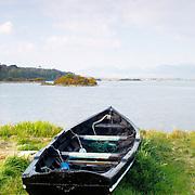 Old wooden rowboat at Connemara, Ireland
