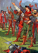 Hernando Cortez with his conquistadors before embarking for Mexico.