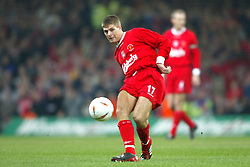 CARDIFF, WALES - Sunday, March 2, 2003: Liverpool's Steven Gerrard in action against Manchester United during the Football League Cup Final at the Millennium Stadium. (Pic by David Rawcliffe/Propaganda)