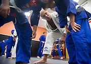 Royce Gracie, Ryan DuCoing and Trevor Gilsen during a jiu-jitsu lesson at US Blackbelt Academy on Thursday, March 26, 2015 in Laguna Niguel, Calif. (Photo/Josh Barber)
