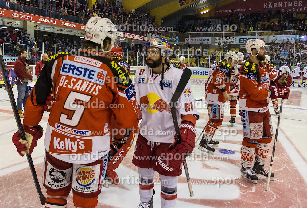 29.03.2015, Stadthalle, Klagenfurt, AUT, EBEL, EC KAC vs EC Red Bull Salzburg, 4. Spiel Playoff Halbfinale, im Bild nach dem Spiel // during the Erste Bank Icehockey League 4th game playoff seminfinals match betweeen EC KAC and EC Red Bull Salzburg at the City Hall in Klagenfurt, Austria on 2015/03/29. EXPA Pictures © 2015, PhotoCredit: EXPA/ Gert Steinthaler