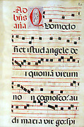 Leaf of Antiphonal or Choir Missal on vellum. Notation is on the five-line stave as used today. Text is in Latin. Spain,  c1650. Music Vocal  Religion Christian