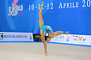 Minagawa Kaho of Japan competes during Individual qualification of clubs in the World Cup at Adriatic Arena on April 11, 2015 in Pesaro, Italy. Kaho was born on August 20,1997 in Chiba Prefecture, Japan.