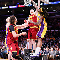14 January 2014: Cleveland Cavaliers center Tyler Zeller (40) goes for the layup against Los Angeles Lakers center Jordan Hill (27) during the Cleveland Cavaliers 120-118 victory over the Los Angeles Lakers at the Staples Center, Los Angeles, California, USA.
