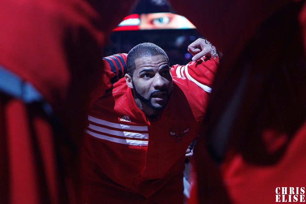 14 March 2012:  Chicago Bulls power forward Carlos Boozer (5) is seen during the players introduction prior to the Chicago Bulls 106-102 victory over the Miami Heat at the United Center, Chicago, Illinois, USA.