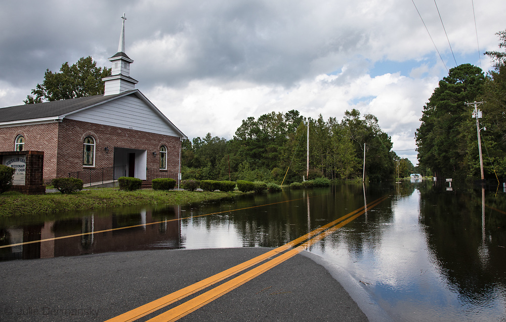 Flooded street in Bucksport, South Carolina following Hurricane Florence,