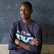 George Obama, the half brother of US presidential hopeful Barack Obama, at a school near Mathare where he lives.