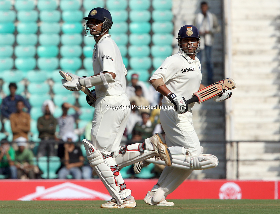 Indian batsman Rahul Dravid and Sachin Tendulkar plays a shot against New Zealand during The India vs New Zealand 3rd test match day-2 Played at Vidarbha Cricket Association Stadium, Jamtha, Nagpur, 21, November 2010 (5-day match)