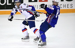 Dominik Granak of Slovakia and Andrej Hebar of Slovenia at ice-hockey game Slovenia vs Slovakia at second game in  Relegation  Round (group G) of IIHF WC 2008 in Halifax, on May 10, 2008 in Metro Center, Halifax, Nova Scotia, Canada. Slovakia won after penalty shots 4:3.  (Photo by Vid Ponikvar / Sportal Images)