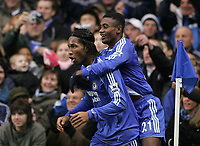 Photo: Lee Earle.<br /> Chelsea v Reading. The Barclays Premiership. 26/12/2006. Chelsea's Salomon Kalou (R) celebrates with Didier Drogba after he scored their opening goal.