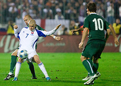 Vladimir Weiss ml. vs Miso Brecko of Slovenia at  the 2010 FIFA World Cup South Africa Qualifying match between Slovakia and Slovenia, on October 10, 2009, Tehelne Pole Stadium, Bratislava, Slovakia. Slovenia won 2:0. (Photo by Vid Ponikvar / Sportida)