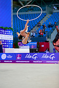 Ashram Linoy during qualifying at hoop in Pesaro World Cup at Adriatic Arena on April 13, 2018. Linoy is an Isrlaelian rhythmic gymnastics athlete born on May 13,1999 in Tel Aviv. Her targhet is to win Israel's first Olympic rhythmic gymnastics medal at the 2020 Olympic Games in Tokyo.