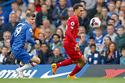 Liverpool defender Trent Alexander-Arnold (66) and Chelsea midfielder Mason Mount (19) during the Premier League match between Chelsea and Liverpool at Stamford Bridge, London, England on 22 September 2019.